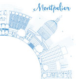 Outline Montpelier (Vermont) city skyline with blue buildings Royalty Free Stock Photography