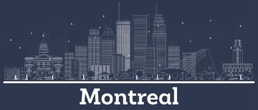 Outline Montreal Canada City Skyline with White Buildings. Vector Illustration. Business Travel and Concept with Modern Architecture. Montreal Cityscape with royalty free illustration