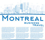 Outline Montreal skyline with blue buildings and copy space. Royalty Free Stock Photography