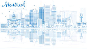 Outline Montreal skyline with Blue buildings and reflection. Royalty Free Stock Photography