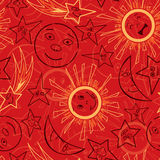 Outline moon stars and sun Royalty Free Stock Image