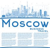 Outline Moscow Russia Skyline with Blue Buildings and Copy Space Stock Photo