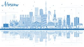 Outline Moscow Russia Skyline with Blue Buildings and Reflection Royalty Free Stock Photos