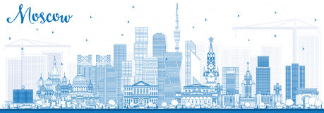 Outline Moscow Russia Skyline with Blue Buildings. Royalty Free Stock Photos