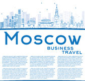 Outline Moscow Skyline with Blue Landmarks and Copy Space. Royalty Free Stock Photography