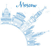 Outline Moscow Skyline with Blue Landmarks and Copy Space. Stock Photos