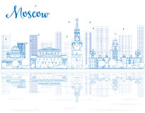 Outline Moscow skyline with blue landmarks. Royalty Free Stock Photo