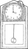 Outline of Mouse on Clock Royalty Free Stock Images