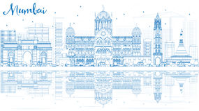 Outline Mumbai Skyline with Blue Landmarks and Reflections. Vector Illustration. Business Travel and Tourism Concept with Historic Buildings. Image for Royalty Free Stock Photography