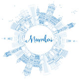 Outline Mumbai Skyline with Blue Landmarks. Stock Images