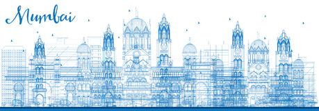 Outline Mumbai Skyline with Blue Landmarks. Vector Illustration. Business Travel and Tourism Concept with Historic Buildings. Image for Presentation Banner Stock Photo