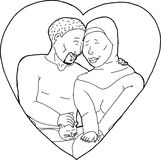 Outline of Muslim Couple Royalty Free Stock Photography