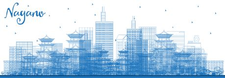 Outline Nagano Japan City Skyline with Blue Buildings royalty free illustration