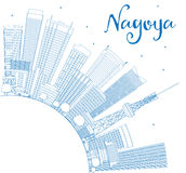 Outline Nagoya Skyline with Blue Buildings and Copy Space. Stock Photos