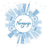 Outline Nagoya Skyline with Blue Buildings and Copy Space. Royalty Free Stock Photos