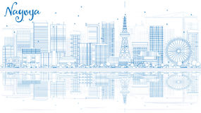 Outline Nagoya Skyline with Blue Buildings and Reflection. Stock Photos