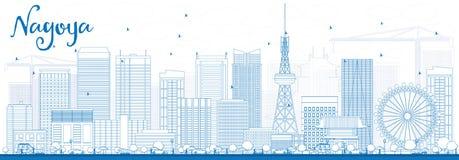 Outline Nagoya Skyline with Blue Buildings. Stock Images
