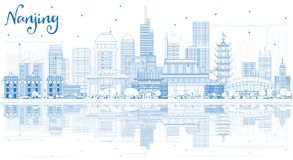 Outline Nanjing China City Skyline with Blue Buildings and Reflections. Vector Illustration. Business Travel and Tourism Illustration with Modern Architecture royalty free illustration