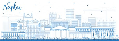 Outline Naples Italy City Skyline with Blue Buildings. Vector Illustration. Business Travel and Tourism Concept with Modern Architecture. Naples Cityscape with Stock Image