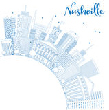 Outline Nashville Skyline with Blue Buildings and Copy Space. Stock Image
