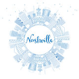 Outline Nashville Skyline with Blue Buildings and Copy Space. Stock Photo
