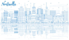 Outline Nashville Skyline with Blue Buildings and Reflections. Stock Photography