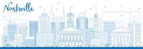 Outline Nashville Skyline with Blue Buildings. Vector Illustration. Business Travel and Tourism Concept with Modern Architecture. Image for Presentation Banner Stock Images