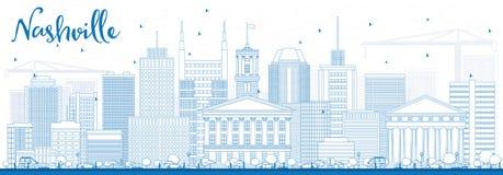 Outline Nashville Skyline with Blue Buildings. Stock Images