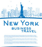 Outline New York city skyline with blue buildings and copy space Stock Photo