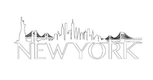 Outline New York City Skyline Vector Royalty Free Stock Images