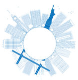 Outline New York city skyline. Vector illustration Royalty Free Stock Photography