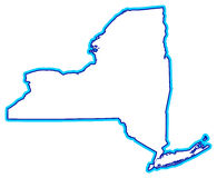 Outline of New York state. An outline of the state of New York done in blue on white background. Part of a series stock illustration