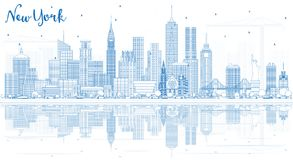 Free Outline New York USA City Skyline With Blue Buildings And Reflections. Stock Images - 111045414