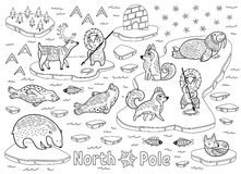 Outline North Pole animals, eskimos and yurt. Black and white North Pole cartoon vector illustration. Ink Inuit art. Outline wild animals decorative print Royalty Free Stock Photos