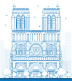 Outline Notre Dame Cathedral - Paris Stock Image