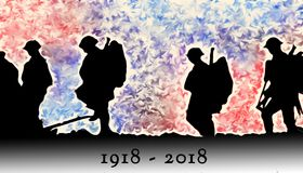 Free Outline Of WWI Soldiers Walking Over Colourful Blasts Royalty Free Stock Photos - 124672228