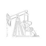 Outline of oil derrick, vector illustration. Hand-drawn outline of oil derrick  on white background. Art vector illustration for your design Royalty Free Stock Photography