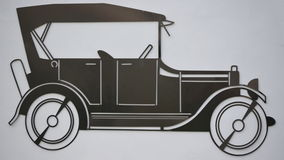 Outline old car made of sheet metal Stock Photo