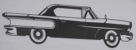 Outline old car made of sheet metal Royalty Free Stock Photos