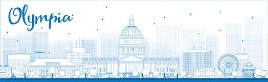 Outline Olympia (Washington) Skyline with Blue Buildings Royalty Free Stock Photos