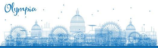Outline Olympia (Washington) Skyline with Blue Buildings. Royalty Free Stock Photos