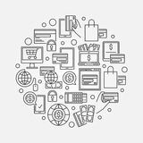 Outline online payment illustration Stock Photo