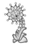 Outline ornament flower isolated over white. Vector illustration Royalty Free Stock Photo