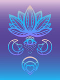 Outline ornate lotus flower vector with alchemy eye, moon and heart esoteric symbols, Hand drawn beautiful lotus on blue and purpl Royalty Free Stock Images