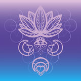Outline ornate lotus flower vector with alchemy eye, moon and heart esoteric symbols, Hand drawn beautiful lotus on sacred geometr Stock Photo