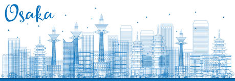 Outline Osaka Skyline with Blue Buildings. Stock Images