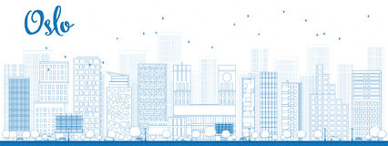 Outline Oslo Skyline with Blue Building Royalty Free Stock Image