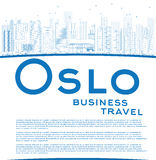 Outline Oslo Skyline with Blue Buildings and copy space Royalty Free Stock Image