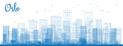 Outline Oslo Skyline with Blue Buildings. Royalty Free Stock Photo