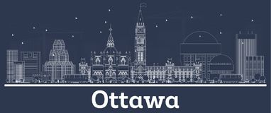 Outline Ottawa Canada City Skyline with White Buildings. Vector Illustration. Business Travel and Tourism Concept with Modern Architecture. Ottawa Cityscape vector illustration